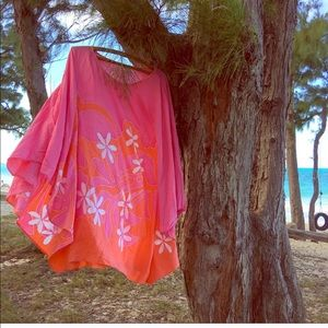 Other - Batik cotton tropical floral beach cover up poncho